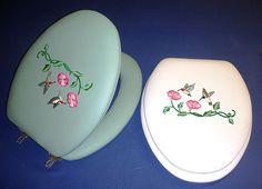 CloudSoft Embroidery Cushioned Toilet Seat: Hummingbirds - Over 40 background colors