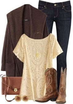 Chocolate  Lace cowgirl boots, lace tops, cowboy boots, fall clothing fashion, outfit, riding boots, nashville fashion, shoe, shirt