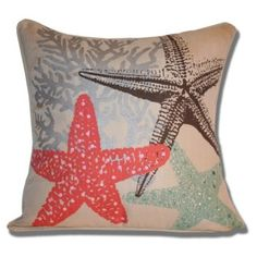 Update your home decor with this colorful sea inspired Marlo Lorenz Starfish Pillow. This pillow features a removable, hidden zipper cover and self welt edging details.