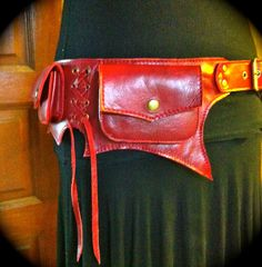 Red Leather Pocket Utility Hip Belt The by ThaiArtistCollective, $67.00