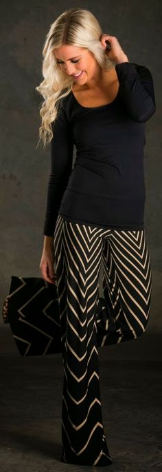 Chevron palazzo pant and black sleeve top | FASHION WINDOW