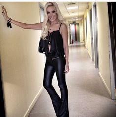 Leather look lady, Katerina Kainourgiou, wearing one of our #FW_14 tops! #BSB_FW14 #new #collection #leather_looks