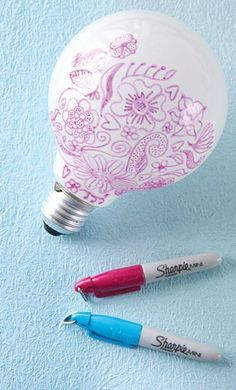 Did you know if you draw on a lightbulb, that you can have really cute designs shine on your wall at night?...What a great idea for when you daughter has a sleepover!!! They could spend hours decorating their bulbs and talking the night away!!!..Cheap and a groovy souvenir to take home...