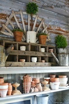 Fabulous junk styled potting bench with reclaimed wood and shelves - Faded Charm