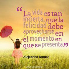 """""""La #Vida es tan incierta, que la #Felicidad debe aprovecharse en el momento en que se presenta"""". #AlejandroDumas #Citas #Frases @Candidman alejandro duma, frase de, cita celebr, alejandroduma, en frase, frase 0800flor, quot, pensamiento, la vida"""