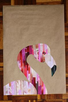 An easy flamingo collage - magazine clippings and brown paper!
