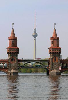 ༺♥༻Oberbaum Bridge & TV Tower, Berlin, Germany༺♥༻