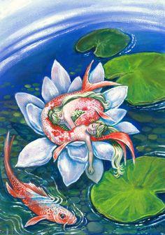 Koi Mermaids asleep inside a lotus flower,Pisces, zodiac art print,girl's room, fantasy, wall decor...