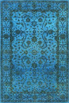 Turquoise over dye rug.