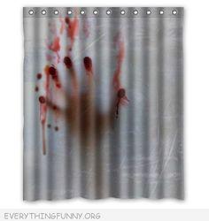 funny halloween scary bloody shower curtain bathroom decor
