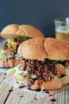 Honey Balsamic Pulled Pork Sandwiches ... the ultimate game day food! |www.joyfulhealthyeats.com #crockpot