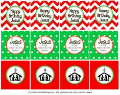 Jesus birthday party printable for CC Christmas party (toppers if we have cupcakes)