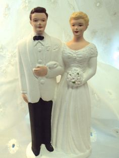 Vintage 1940s Wedding Cake Topper Bride and Groom on Etsy at RetroRosiesVintage
