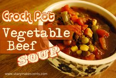Crock Pot Vegetable Beef Soup on http://www.stacymakescents.com -- Making this except without meat or beans. I like plain old veggie soup. I'll also be using tomato juice instead of cans of diced tomatoes. Not a fan of them in my soup. Picture Campbell's classic veggie soup in beef broth.... that's what I like lol. Crockpot, Weekly Meal Plans, Food, Beef Soup, Week Meal, Vegetable Soups In A Crock Pot, Veggie Soup, Weekly Meals