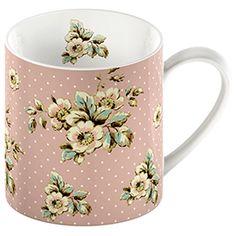 Katie Alice Cottage Flower Pink Floral Mug.