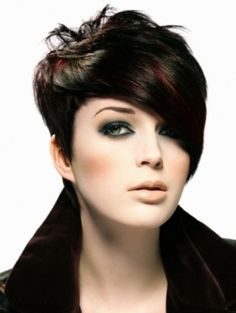 Gorgeous side swept pixie cut with fringe