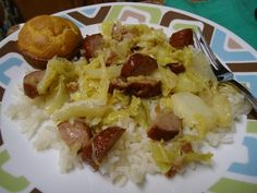 skillets, foods, cabbage and sausage skillet, favorit recip, soul food recipes, skillet cabbag, soulfood recipes, food photo, rice bacon cabbage onion