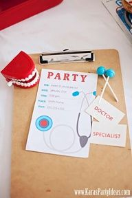 Doctor themed birthday party invites