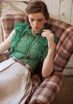 . skirt, vintage hair, color, emerald, blous, kelly green, vintage outfits, leather belts, shirt