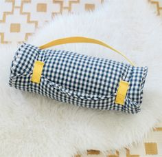 Navy & White Check Nap Mat for Toddlers