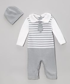 Gray Stripe Tie Playsuit & Beanie - Infant by Tots Fifth Avenue #zulily #zulilyfinds