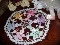 Easter bunnys, baskets, hand crochet doily