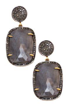 Grey Sapphire + Champagne Diamond Earrings