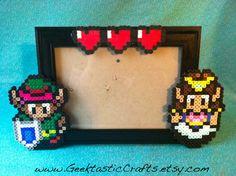 Link and Zelda Couple Heart Perler Frame (5x7) Frame. $14.99, via Etsy.