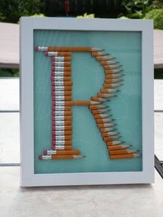 How cute would this be for the teacher, designer, artist or writer in your life? Pencil monogram.