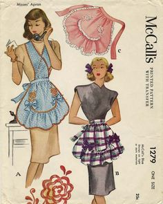 Vintage Apron Sewing Pattern | McCall's 1279 | Year 1946* | One Size | *Fact: The 'apostrophe s' was added to the McCall logo in 1951 so, although the envelope says copyright 1946, this particular pattern was sold no earlier than 1951. vintag apron, vintage, 40s mccall, aprons, apron sew, sew pattern, apron patterns, apron inspir, sewing patterns