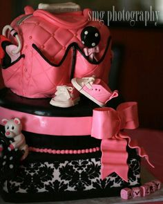 Damask diaper bag cake