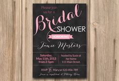 bridal shower invite chalkboard pink hen night FAST TURNAROUND ...