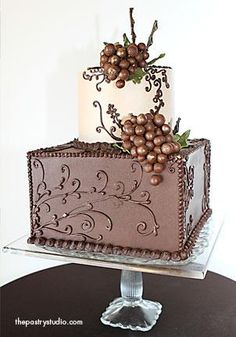 The Pastry Studio two-tier groom's cake, dark and milk chocolate icing, grapes are chocolate fondant dusted with edible gold. edibl gold, pastri studio, chocolate covered, honeymoon destinations, yellow cakes, groom cake, chocol fondant, unusual cakes, chocolate cakes