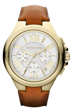 Michael Kors Camille Chronograph Leather Strap Watch | Nordstrom