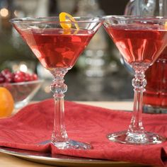 This delicious cocktail features two flavors of the holiday season: ginger and cranberry. It's vivid red color will immediately grab the eye of your party guests.