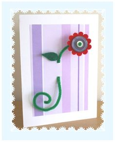 Cute Mom's Day card made with felt flowers buttons and pipecleaner button flowers, mothers day, flower card, craft gifts, flowercard, kid crafts, pipe cleaner