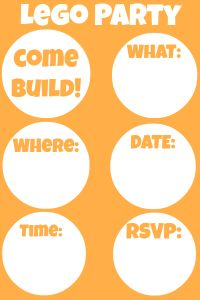 Lego Party Planner - printable invite