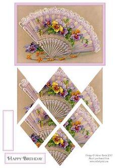 3d card, card topper, fan, pansi