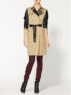 MICHAEL Michael Kors Trench With Leather Sleeves | Piperlime
