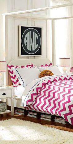 Cool Teen Girl Bedroom: Large monogram above headboard girl bedroom, teen bedrooms, idea, dream, canopy beds, monogram, duvet cover, chevron, girl rooms