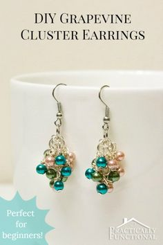 craft, cluster earring, bead, jewelry making, diy fashion
