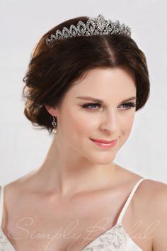 Rhinestone Leaf Shaped Tiara #simplybridal #wedding #bridal #bride #accessories #headpiece #tiara