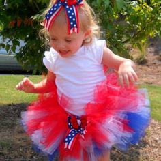 4th of july tricolor tutu at the Shopping Mall, $25.00  Facebook.com/littlemissthangs  Little Miss Thang