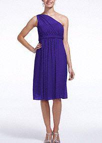 One Shoulder Short Dress with Illusion Neckline, Style F15607 in Regency. #davidsbridal #purpleweddings #bridesmaiddress
