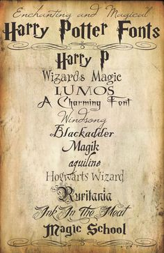 Harry Potter paper fonts.