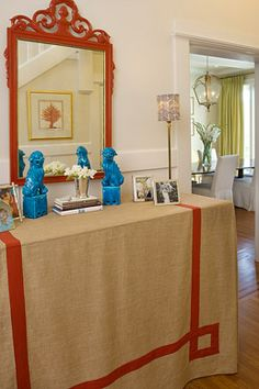The Portfolio of Palmer Weiss Interior Design mirror, interior, skirt tabl, orang, table covers, foyer, dog, chinoiserie chic, table skirts