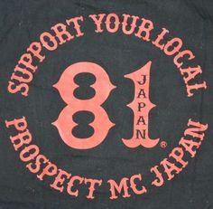 Rare hells angels japan prospect charter shirt 81 support shirt mc