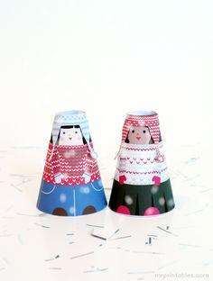 Printable Paper Dolls - Winter Cone Girls | Mr Printables