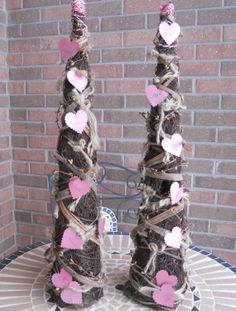 Valentines Decor, Rustic Vine Trees.  Perfect for a fireplace mantel. by Pebble Creek Designs