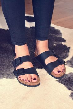 "Birkenstock arizona slippers.  Far from elegant, but So comfy that I would be tempted to wear them every day.   I have a ""bling"" version."